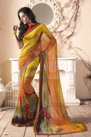Angellic Yellow Major Georgette Print With Lace Border Saree