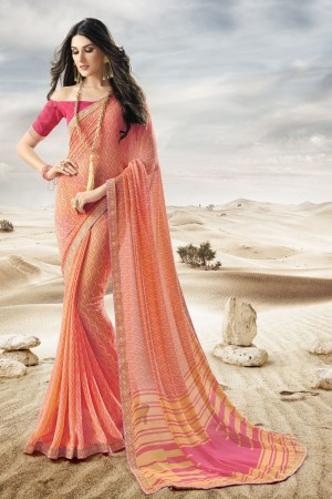 Enriching Brown Major Georgette Print With Lace Border Saree