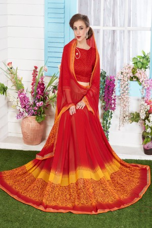 Beauteous Orange Major Georgette Print With Lace Border Saree