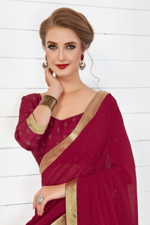 Awesome Maroon Major Georgette Print With Lace Border Saree