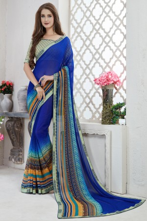 Charming Blue Major Georgette Print With Lace Border Saree
