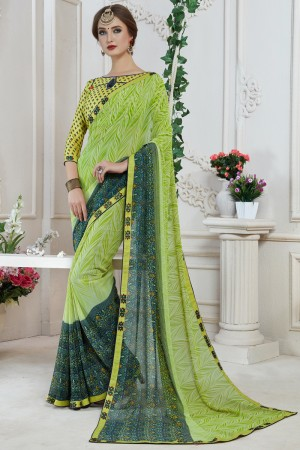 Amiable Green Major Georgette Print With Lace Border Saree