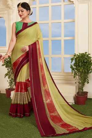 Enthralling Olive Silky Silver Print With Lace Border Saree