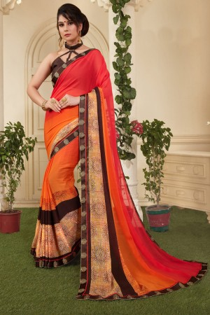 Captivating Orange Silky Silver Print With Lace Border Saree