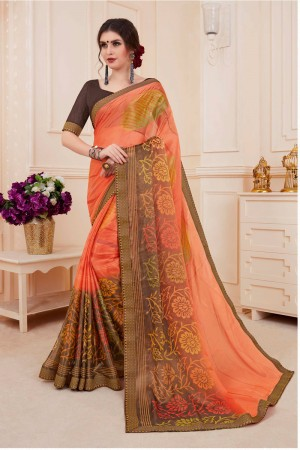 Orange & Brown Khushi Brasso Saree with Blouse