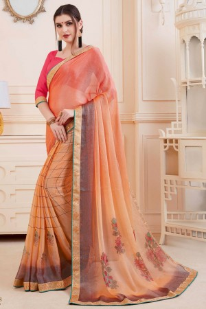 Apricot Khushi Brasso Saree with Blouse