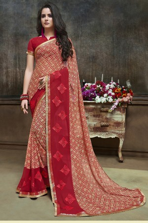 Beauteous Gold Major Georgette Printed and Embroidered Saree