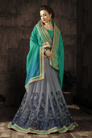 Glitzy Grey Embroidered 60 GM Georgette & Moss Chiffon with  Designer  Lace Border Saree