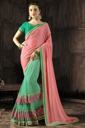 Ethnic Pink Embroidered 60 GM Georgette & Moss Chiffon with  Designer  Lace Border Saree