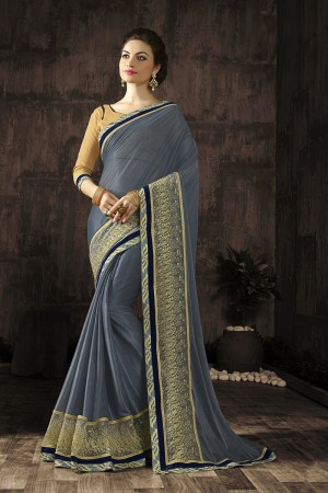 Distinctive Grey Embroidered 60 GM Georgette & Moss Chiffon with  Designer  Lace Border Saree
