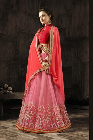 Engrossing Peach Embroidered 60 GM Georgette & Moss Chiffon with  Designer  Lace Border Saree