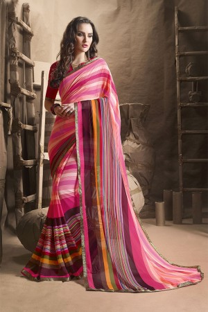 Enriching Pink Major Georgette Printed and Lace Border Saree