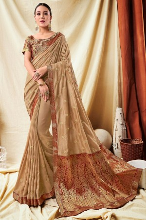 Beige Vichitra Silk Saree with Blouse
