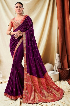 Purple Vichitra Silk Saree with Blouse