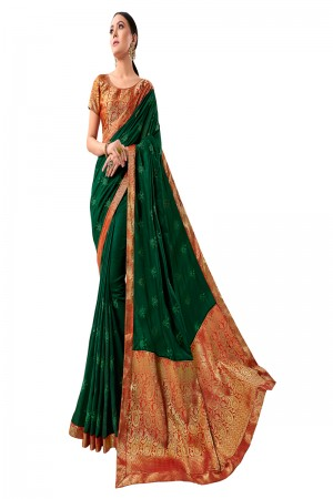 Dark Green Vichitra Silk Saree with Blouse