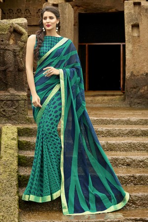 Trendy Green Pure Georgette Print With Lace Border Saree