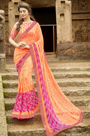 Versatile Orange Pure Georgette Print With Lace Border Saree