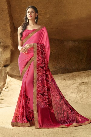 Tremendous Pink Pure Georgette Print With Lace Border Saree