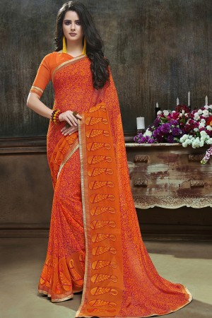 Trendy Orange Major Georgette Printed and Embroidered Saree