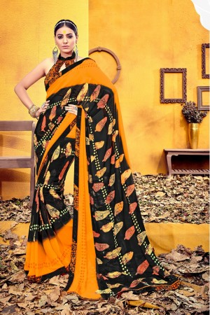 Designer Brown Weight Less Print With Lace Border Saree