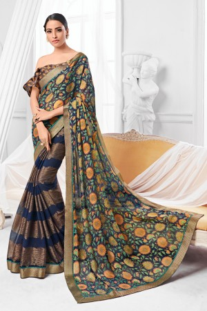 Navy Blue Chiffon Brasso Saree with Blouse