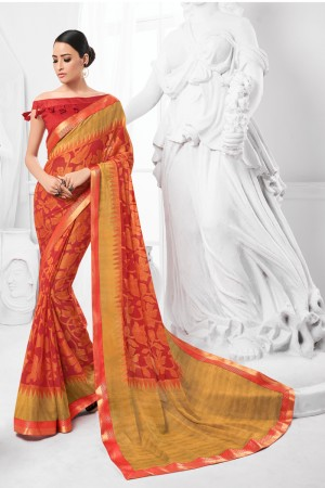 Red Chiffon Brasso Saree with Blouse