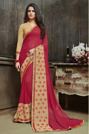 Versatile Maroon Major Georgette Printed and Embroidered Saree