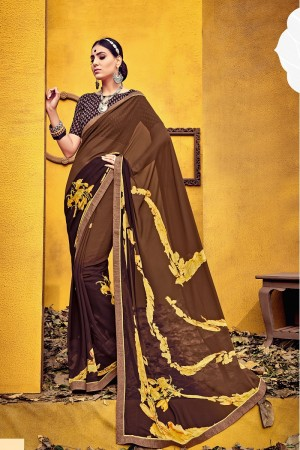 Aesthetic Brown Weight Less Print With Lace Border Saree