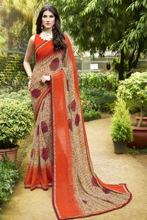 Enchanting Brown Major Georgette Print With Lace Border Saree