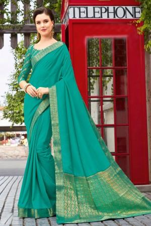Firozi Vichitra Silk Saree with Blouse