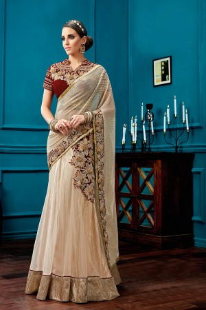 Refreshing Beige Net, Knitted Georgette Cord Embroidery, 3d flowers, Stone Work One Minute Saree