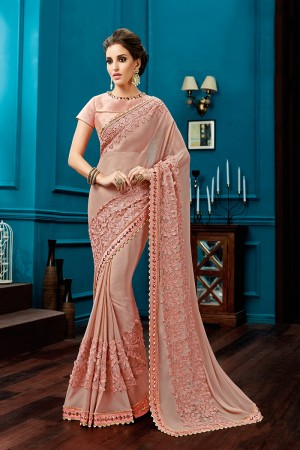 Gorgeous Peach Knitted Georgette Jewel Border Saree