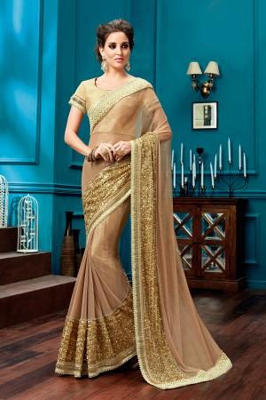 Splendiferous Tan Knitted Net Pearl Work, Jewel Border Saree
