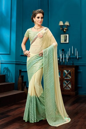 Attractive Cream, Mint Green Cream, Mint Green Thread and Sequins Embroidery, Jewel Border Saree
