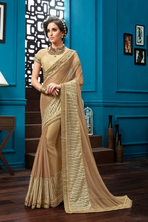 Graceful Brown Knitted Net Thread and Cord Embroidery Saree