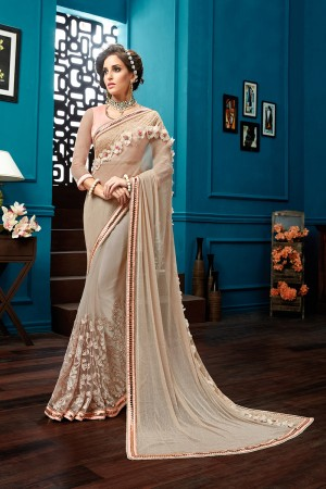 Captivating Beige Knitted Net Taping Embroidery, 3d flowers , Jewel Border Saree