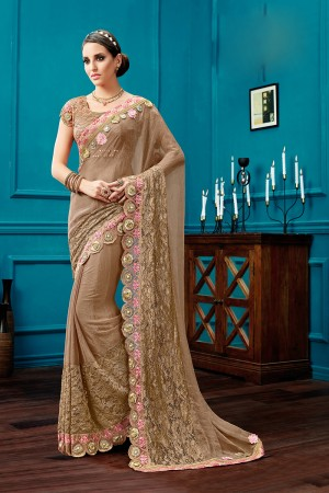 Stunning Brown Silk Chiffon Fancy Net, Thread and Cord Embroidery, 3d flowers Saree