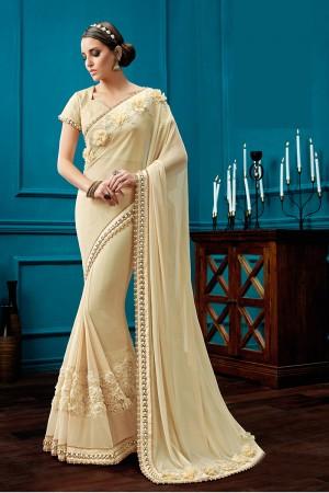 Luscious Cream Knitted Net Fancy Net, Jewel Border Saree