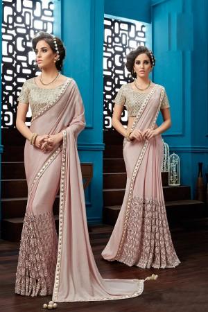 Glitzy Pink Chiffon Thread and Cord Embroidery, Jewel Border Saree