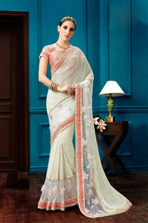 Angellic Cream Fancy Knit Thread and Cord Embroidery, Jewel Border Saree