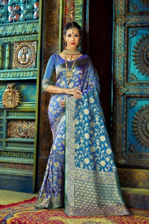 Fabulous Blue Dyed Polyester Weaving Saree