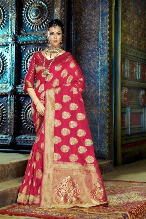 Captivating Red Dyed Polyester Weaving Saree