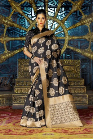Stunning Black Dyed Polyester Weaving Saree