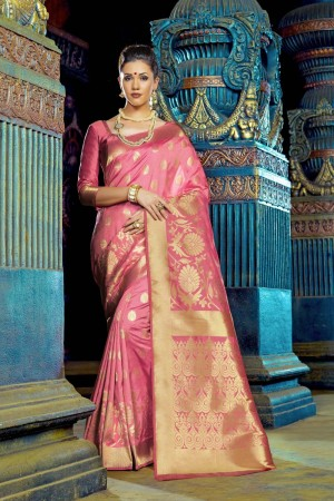 Glitzy Pink Dyed Polyester Weaving Saree