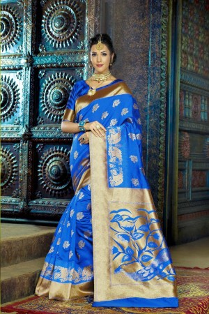 Angellic Blue Dyed Polyester Weaving Saree