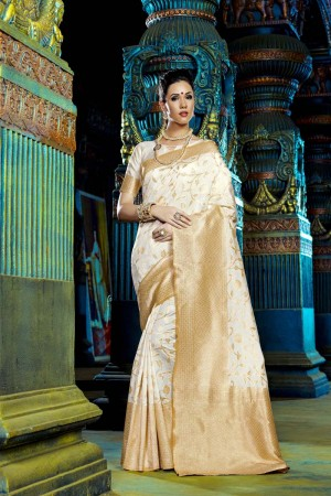 Ethnic Cream Dyed Polyester Weaving Saree