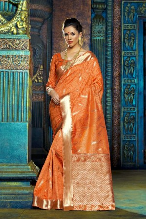 Ambitious Orange Dyed Polyester Weaving Saree