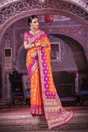 Graceful Orange Nylon Silk Hand Dyeing Saree