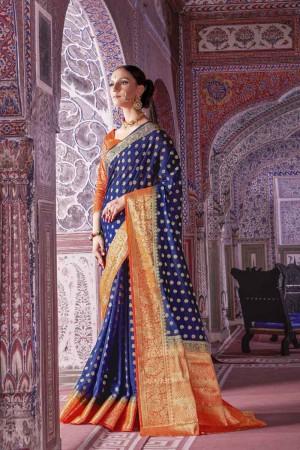 Modish Blue Nylon Silk Hand Dyeing Saree