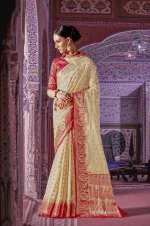 Royal Cream Nylon Silk Hand Dyeing Saree